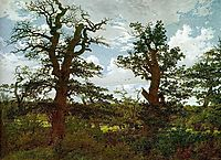 Landscape with Oak Trees and a Hunter, 1811, friedrich