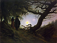 Man and Woman Contemplating the Moon, 1830-1835, friedrich