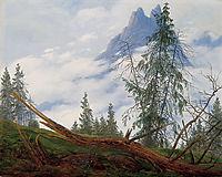 Mountain Peak with Drifting Clouds, friedrich