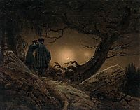 Two Men Contemplating the Moon, 1819-1820, friedrich