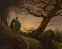 Two Men Contemplating the Moon, c.1830, friedrich