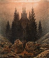 Cross and church in the mountains, 1812, friedrich