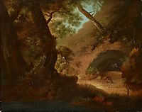 Wolves in the forrest in front of a cave, friedrich