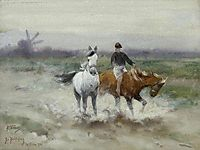 A horseback ride, 1900, friese