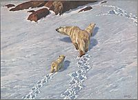 Polar bear family, friese
