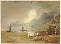 Coastal scene with shipping, figures and cows, gainsborough