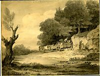 Figures with cart at roadside, gainsborough