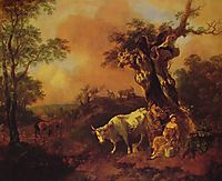 Landscape with a Woodcutter and Milkmaid, 1755, gainsborough
