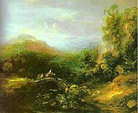 Mountain Landscape with Peasants Crossing a Bridge, 1784, gainsborough