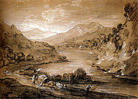 Mountainous Landscape With Cart And Figures, gainsborough