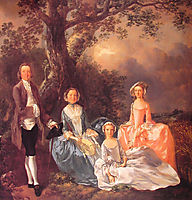 Mr. and Mrs. John Gravenor and their Daughters, Elizabeth and Ann , 1754, gainsborough