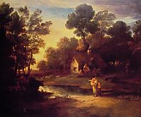 Wooded Landscape with Cattle by a Pool and a Cottage at Evening, 1782, gainsborough