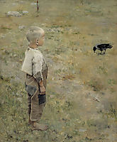 Boy with a Crow , 1884, gallenkallela