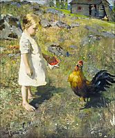The girl and the rooster , 1886, gallenkallela