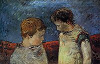 Aline Gauguin and one of her brothers, c.1883, gauguin