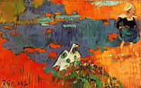 Breton Woman and Goose by the Water, 1888, gauguin