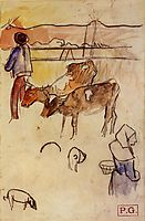 Bretons and cows, 1889, gauguin