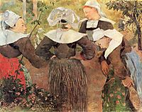 Brittany causing, or Dance of the four or Four Breton Breton, 1888, gauguin