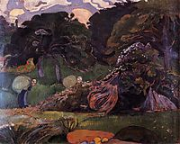 Brittany landscape with women carrying sack, 1889, gauguin