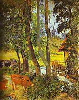 Cattle drinking, 1885, gauguin