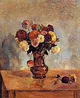 Dahlias in a copper vase, 1885, gauguin