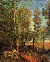 Donkey by lane, 1885, gauguin