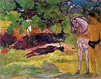 In the Vanilla Grove, Man and Horse (The Rendezvous), 1891, gauguin