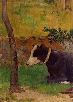 Kneeling cow, 1888, gauguin