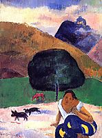 Landscape with black pigs and a crouching Tahitian, 1891, gauguin