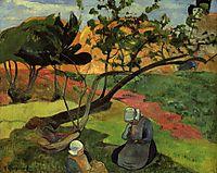 Landscape with two breton women, 1889, gauguin