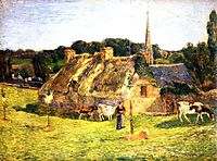 Lollichon-s Field and the Church of Pont-Aven, 1886, gauguin