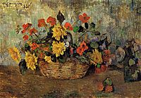 Nasturtiums & dahlias in a basket, 1884, gauguin