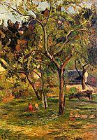 Orchard under the Church of Bihorel (Children in the Pasture), 1884, gauguin