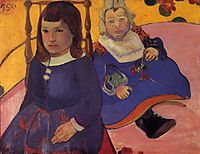 Portrait of two children (Paul and Jean Schuffneker), c.1889, gauguin