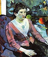 Portrait of woman against the Cezanne-s still life with apples, 1890, gauguin