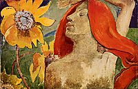Redheaded woman and sunflowers, c.1890, gauguin