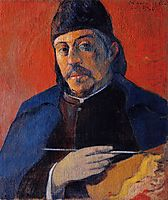 Self portrait with palette, 1894, gauguin
