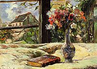 Still life. Vase with flowers on the window, gauguin