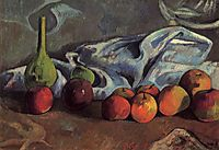 Still life with apples and green vase, gauguin