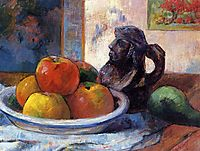 Still Life with Apples, a Pear and a Ceramic Portrait Jug, gauguin