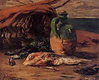 Still life with red mullet and jug, gauguin
