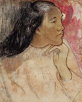 Tahitian woman with flower in her hair, c.1891, gauguin