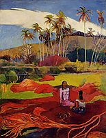 Tahitian women under the palms, gauguin