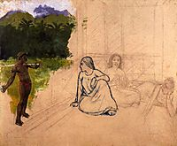 Tahitians at rest (unfinished), c.1891, gauguin