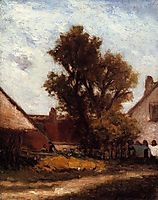 Tree in the farm yard, gauguin