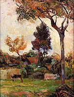 Two cows in the meadow, gauguin