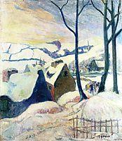 Village in the snow, gauguin