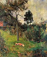 Young woman lying in a grass, gauguin