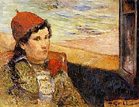 Young woman at the window, 1888, gauguin