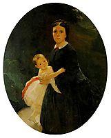 Portrait of Shestova with daughter, 1859, ge